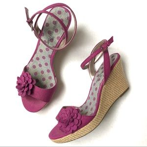 Dark Pink Canvas Ankle Strap Wedge Floral Sandals